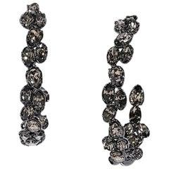 Gunmetal Alexis Bittar Embellished Hoop Earrings