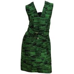 Calvin Klein Green Print Belted Dress