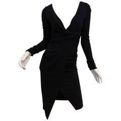 Valentino Navy V-Neck Long Sleeve Dress