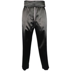 CELINE Size 2 Black Satin Contrast Stitch Zip Fly Velcro Dress Pants