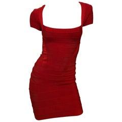 Herve Leger Red Cap Sleeve Bandage Dress