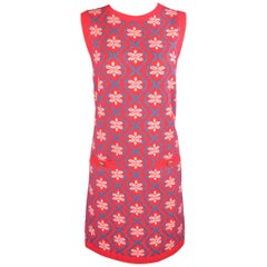 CHANEL Size 4 Coral & Teal Floral Print Cashmere Sleeveless Shift Sweater Dress