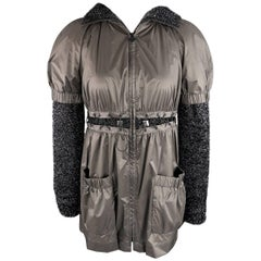 New CHANEL Jacket -  Size 4 Black Hooded Lace Up Grommet Jacket - Retail: $3,400
