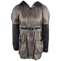 New CHANEL Jacket -  Size 4 Black Nylon & Lurex Hooded Lace Up Grommet Jacket