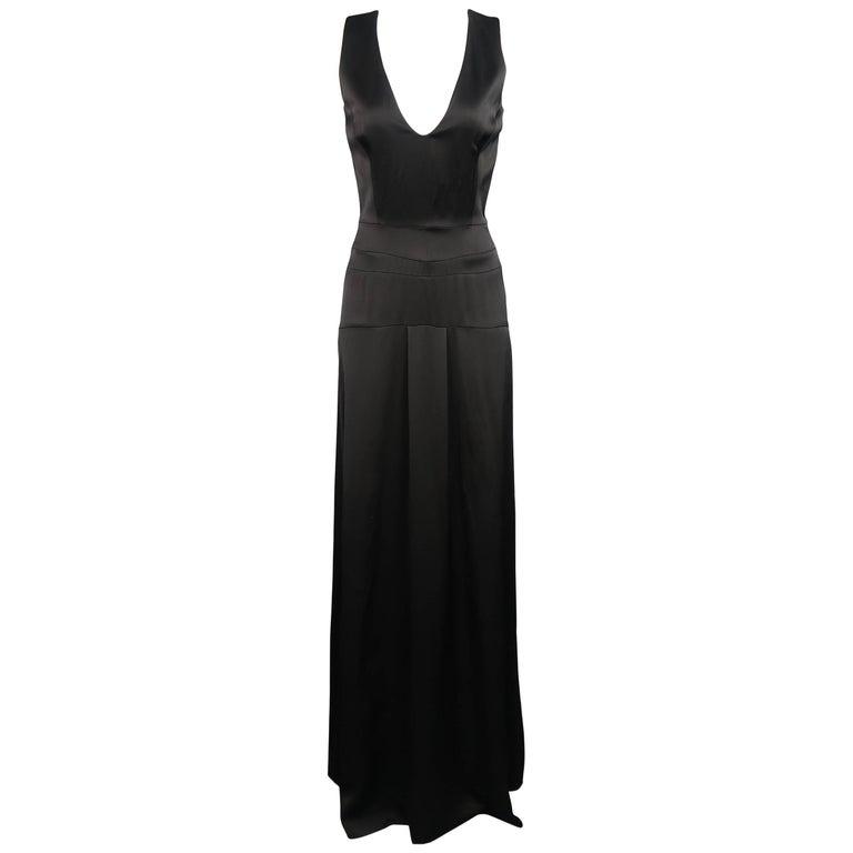 Victoria Beckham Size 4 Black V Neck Pleat Corset Waist Maxi Dress