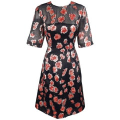 LELA ROSE Size 10 Navy & Red Floral Brocade Silk Blend HOLLY Dress