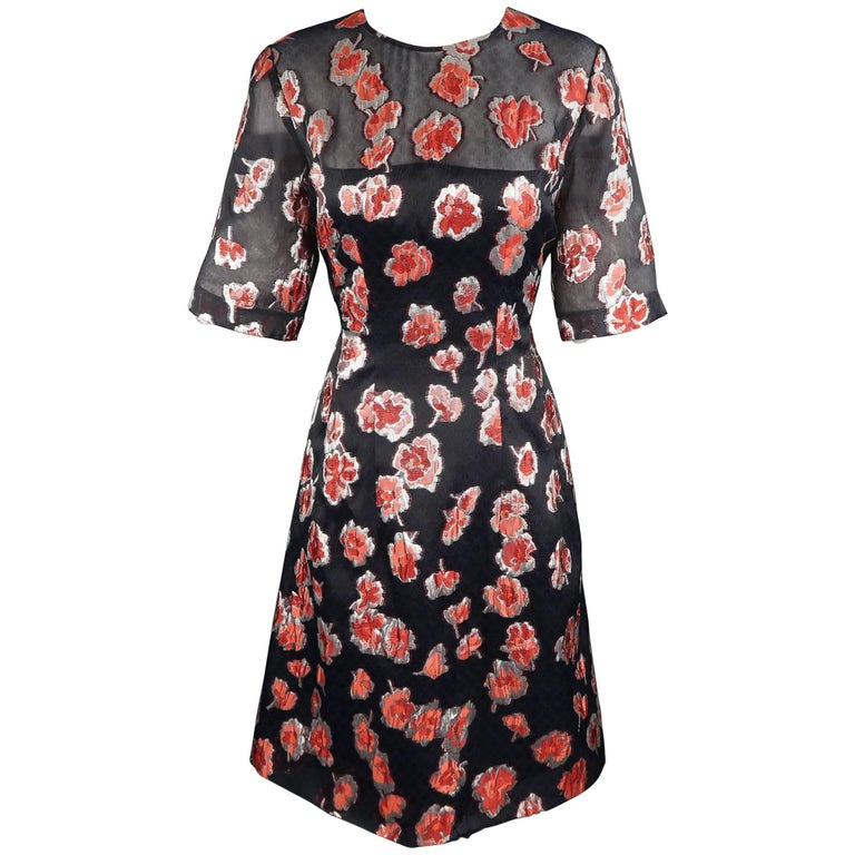 LELA ROSE Size 10 Navy & Red Floral Brocade Silk Blend HOLLY Dress