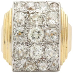 Retro French Gold Ring with a Cluster of Diamonds