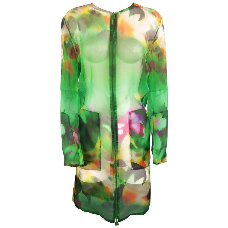 Akris Green Abstract Floral Silk Organza Collarless Coat