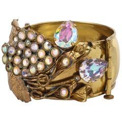 ARTISAN MADE Sculptural Grape Vine Crystal Rhinestone Brass Cuff Bracelet OOAK