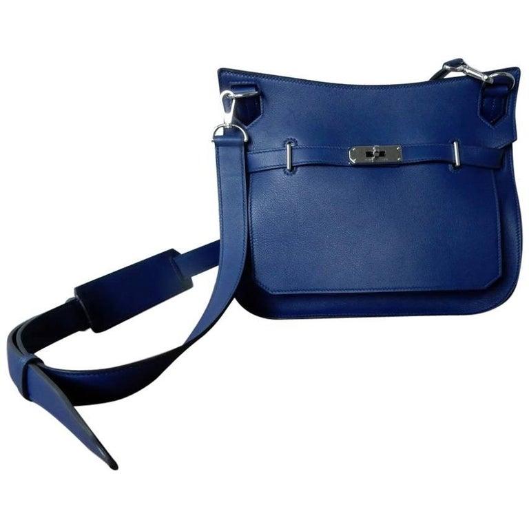 NIB Hermes Beautiful Blue Jypsiere Leather Bag Shoulder Strap & Cross Body 1