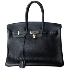 Hermes Birkin 35cm Black Togo Leather w/Silver Paladium Hardware & Box