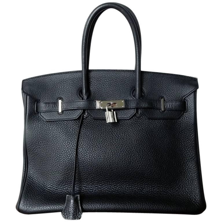 Hermes Birkin 35cm Black Togo Leather w/Silver Paladium Hardware & Box 1