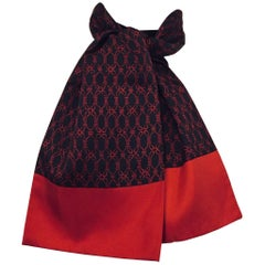 Hermes Men's Ascot with Pattern of Bridle Ropes in Black and Red