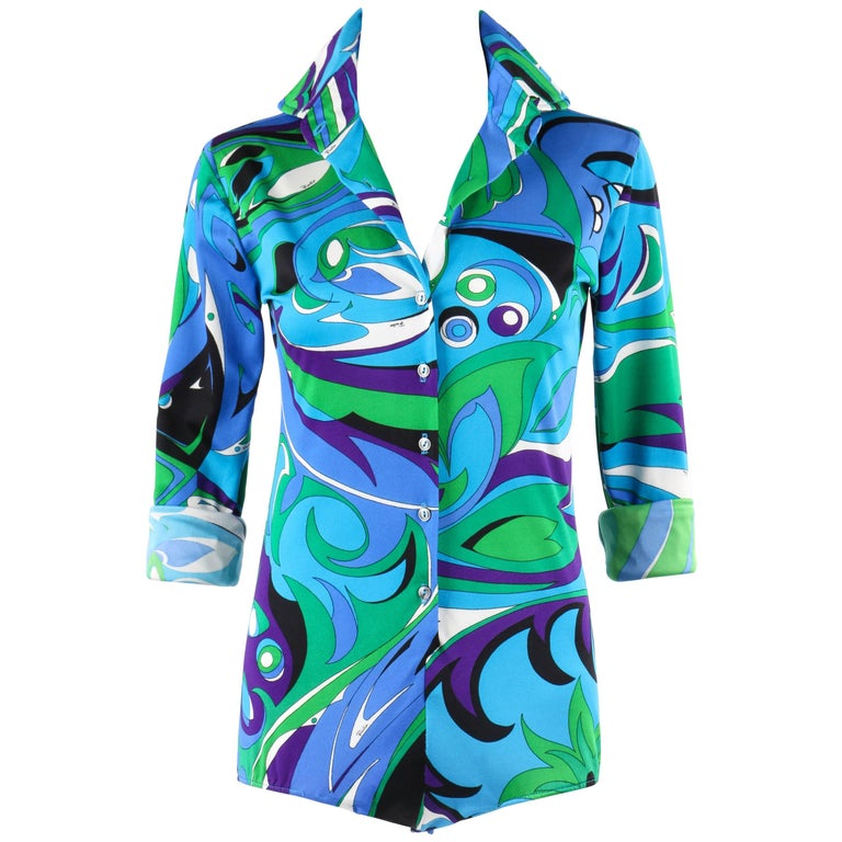 EMILIO PUCCI Braniff Airlines c.1974 Blue Op Art Signature Print Knit Bodysuit