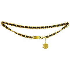 Chanel Vintage Black & Goldtone Leather Laced Chain Belt with Medallion