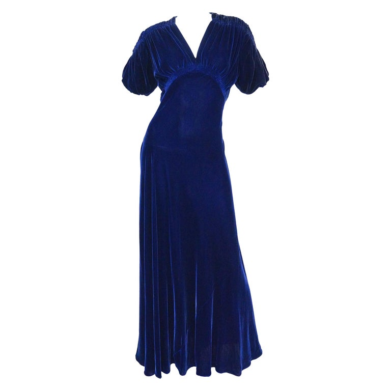 1930s Bias Cut Deep Cobalt Velvet Evening Dress For Sale