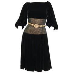 Vintage Adele Simpson Black Velvet Gold Metallic Obi Evening Dress