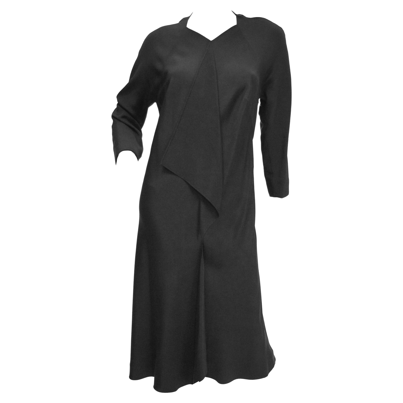 1984 Rare Madame Gres Black Silk Evening Dress w/ Scarf Drape & Original Croquis