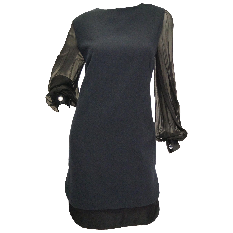 1970s Bill Blass Black Bubble Skirt Cocktail Dress w/ Large Rhinestone Cuffs