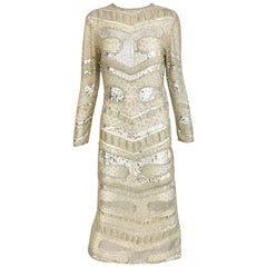 Halston Vintage Creme Sequin Beaded Dress