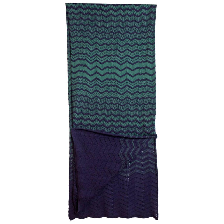 M Missoni Navy & Green Chevron Knit Scarf