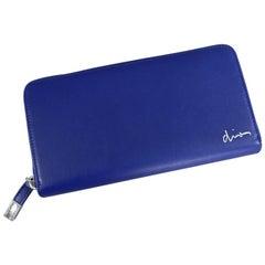 DIOR HOMME Mens Cobalt Blue Leather Zip Double Wallet
