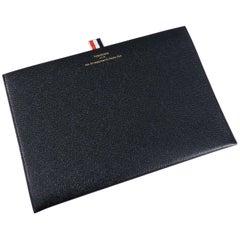 Thom Browne New York Black Leather Flat Portfolio / Clutch Bag