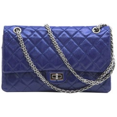 CHANEL 2.55 Double Flap Bag in Blue Electric Soft Grained Patent Leather