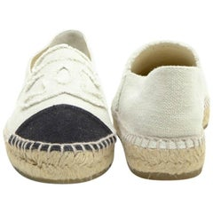CHANEL Espadrilles in Black and Beige Two-Tones Canvas Size 40FR