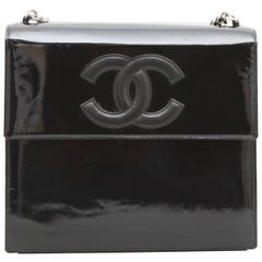 Vintage CHANEL Flap Bag in Black Patent Leather