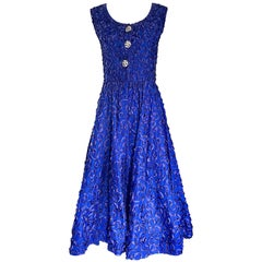 Beautiful 1950s Demi Couture Royal Blue Fit n' Flare Vintage 50s Ribbon Dress