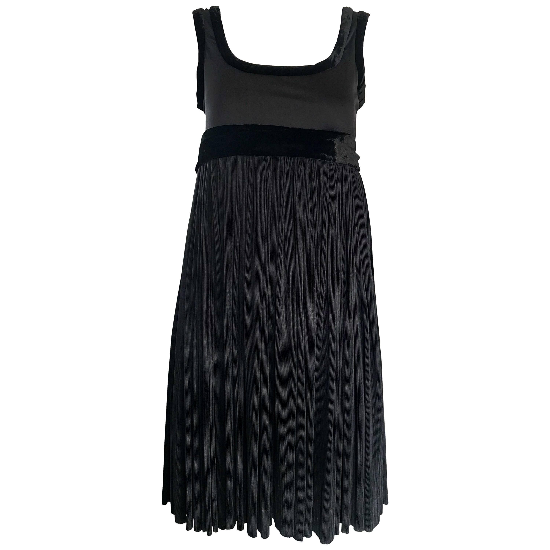 Romeo Gigli 1990s Empire Trapeze Waist Vintage 90s Chic Little Black Dress