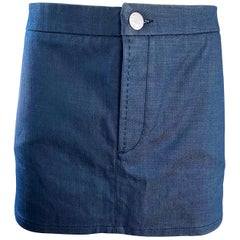 Vintage Chloe Karl Lagerfeld Waxed Blue Jean Denim Vintage 90s Micro Mini Skirt