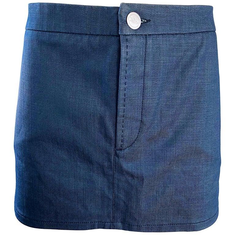 06fcb11af Vintage Chloe Karl Lagerfeld Waxed Blue Jean Denim Vintage 90s Micro Mini  Skirt For Sale