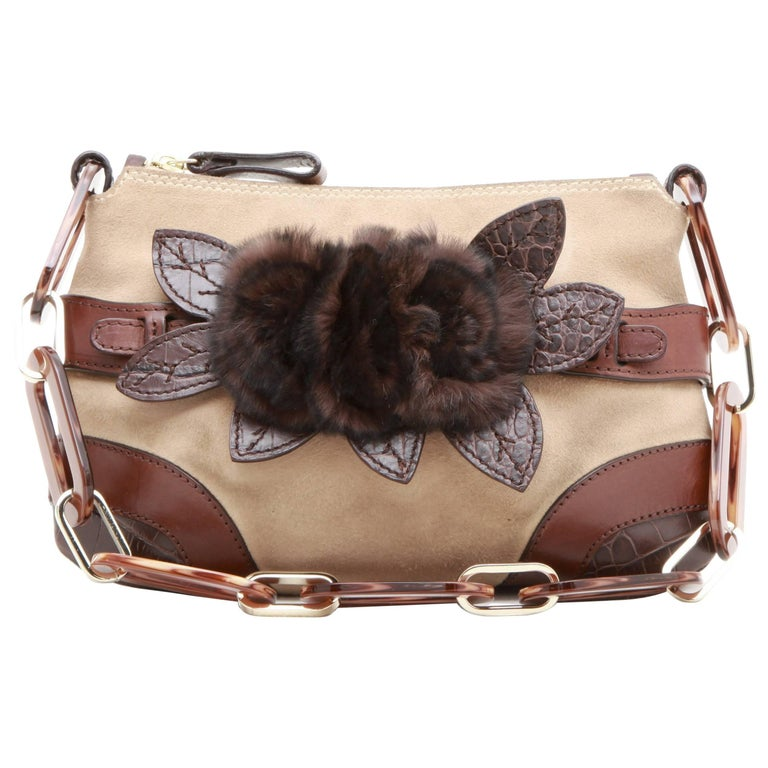 VALENTINO Bag in Beige Suede, Leather, Orylag and Brown Crocodile