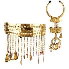 Christian Lacroix Set of belt and necklace gold plated brass