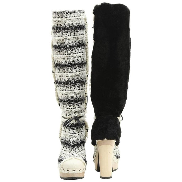 CHANEL Boots in Bi-color Black and White Tweed and Faux Fur Size 39.5FR