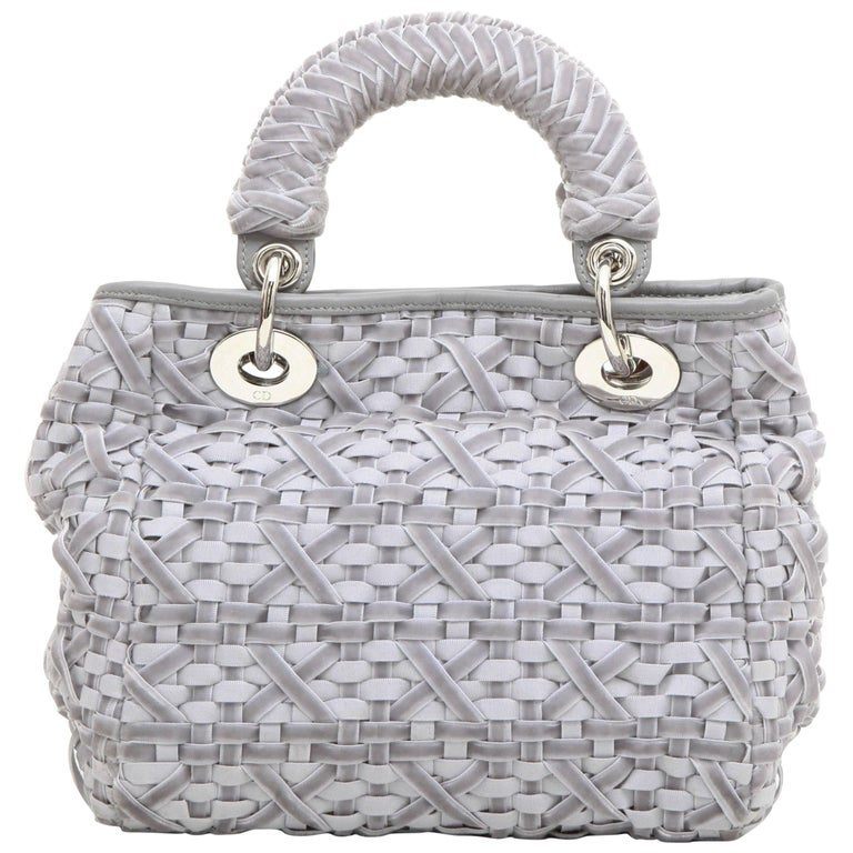 CHRISTIAN DIOR Lady D Bag in Gray Woven, Cotton and Leather Ribbons For Sale