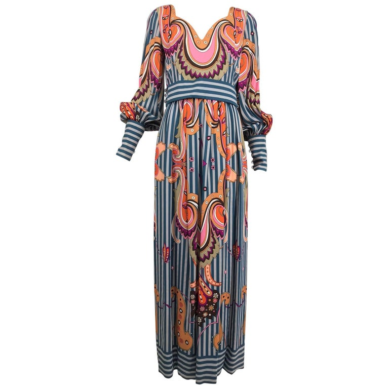 Ronald Amey Tzaims Luksus fabric bold print and stripe maxi dress, 1970s