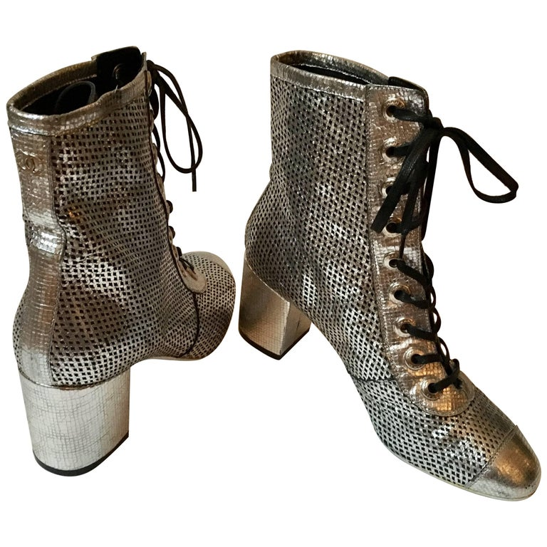 Chanel Silver net Leather laced  Boots