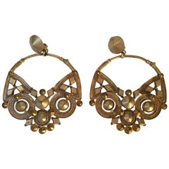 Jean Paul Gaultier large pair of earrings ,mat gold plated on bronze .