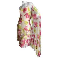 Christian Dior by John Galliano Silk Chiffon Vintage Ruffled Dress with Shawl