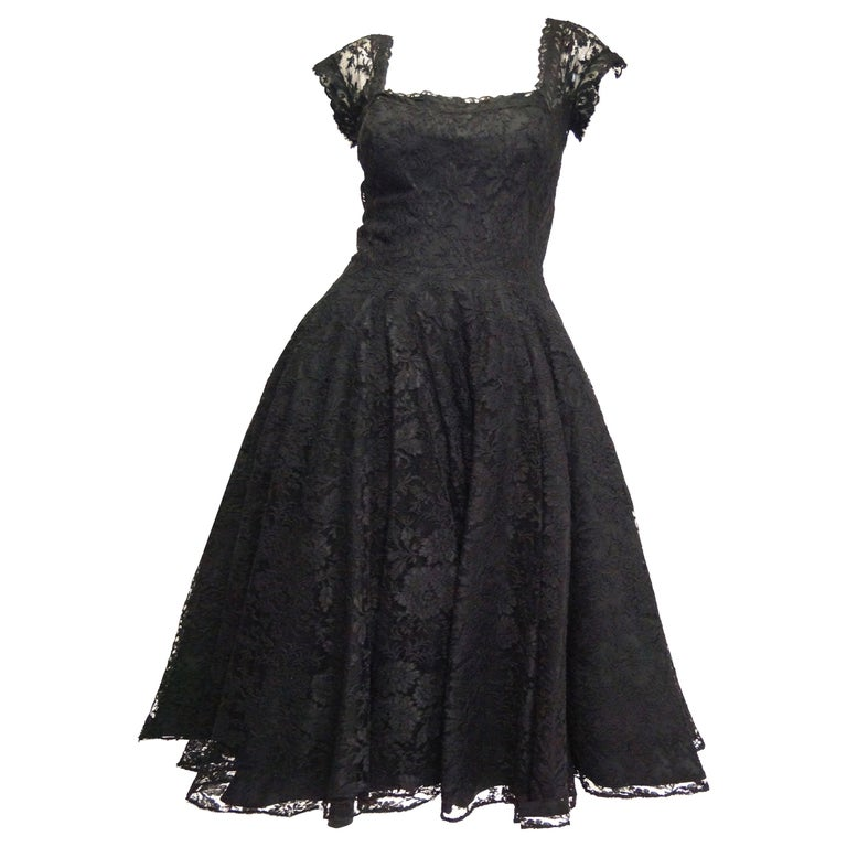 1950s Black Floral French Lace Scoop Back Cocktail Dress For Sale