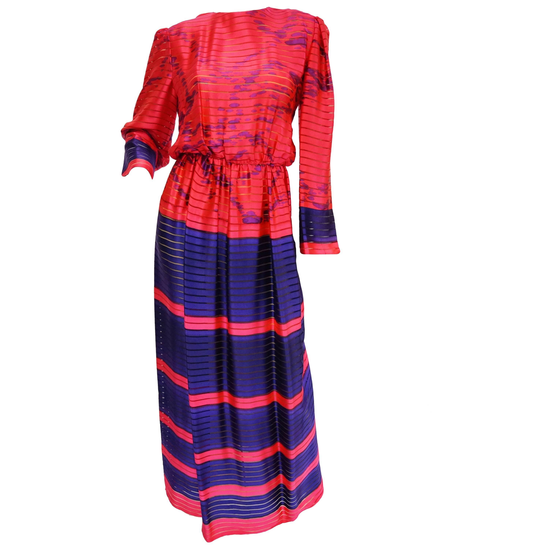1970s Bill Blass Neon Pink and Purple Sheer Stripe Dress 10