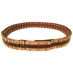 Important vintage leather and gold plated metal  Belt Gucci Style