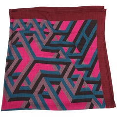 Hermes Carre Cube Cashmere & Silk Scarf - burgundy red/pink/petrol/black