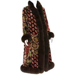 Unique Oscar De La Renta Velvet Exotic Print Reversible Long Coat Fox Trim US 6