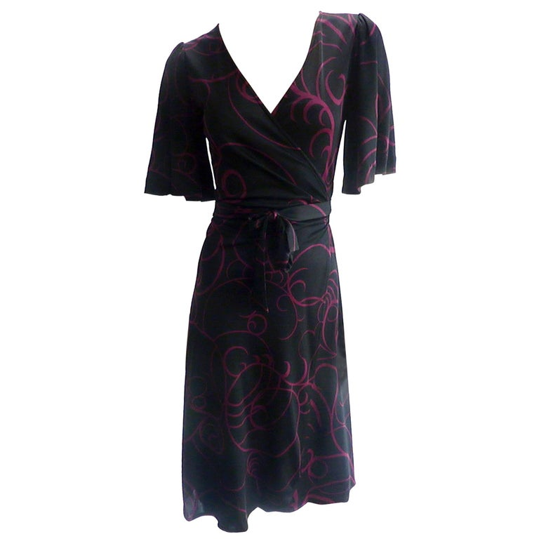 Flora Kung Printed Silk Jersey Wrap Kate Dress