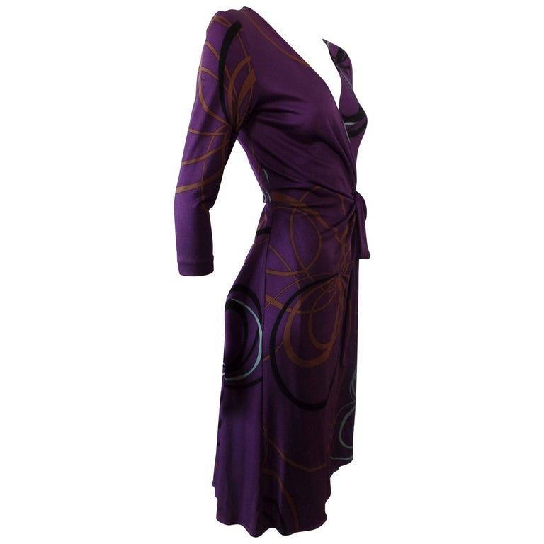 0cb8c55508 Flora Kung Purple Plum Silk Jersey Catherine Wrap Dress For Sale at ...